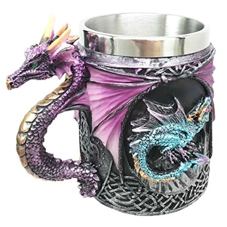 Myths And Legends The Conception Of Blue Fire Beowulf Purple Dragon Beer Stein Tankard Coffee Cup Mug Great Gift For Dragon Lovers Party Hosting Centerpiece Fantasy Movie Drink Companion (Neon Colored Centerpieces)