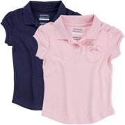 George Toddler Girl School Uniform Short Sleeve Polo Shirt with Bow Pocket 2 Pack