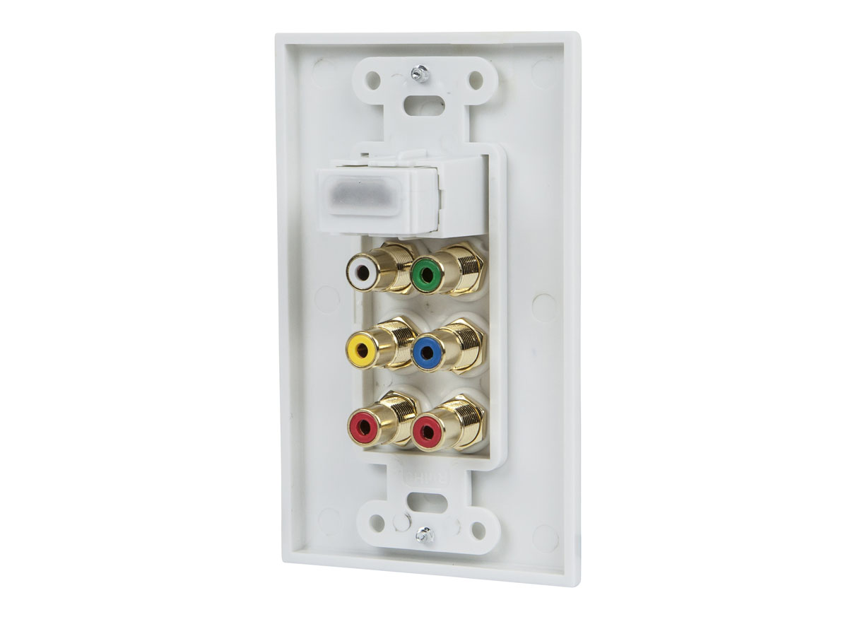 monoprice recessed hdmi wall plate - white with 1* hdmi f/f adapter & 6 rca  connector, gold plated - walmart com