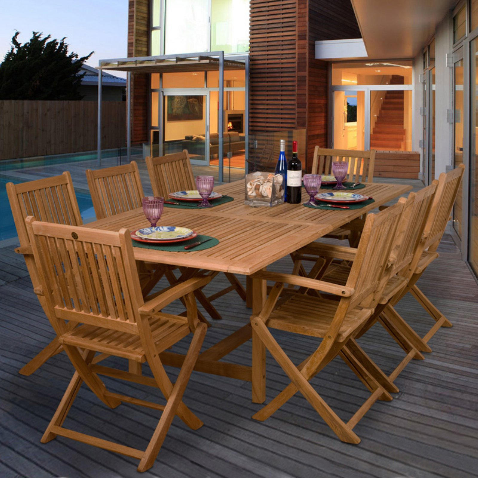 Amazonia Hamburg Teak Dining Set - Seats 8