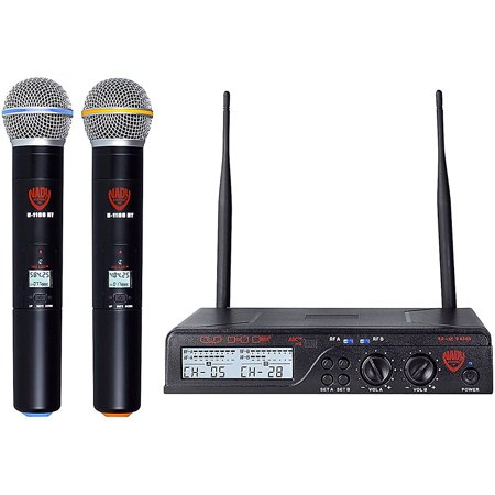 Nady U-2100 HT - Dual 100 Channel UHF Handheld Wireless Microphone System Band A and B Nady Professional Wireless Handheld Microphone