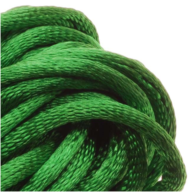 Rayon Satin Rattail 2mm Cord - Knot & Braid - Kelly Green (6 Yards)