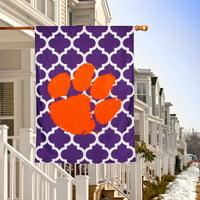 "Clemson Tigers Double-Sided 28"" x 40"" Quatrefoil Fashion House Flag"