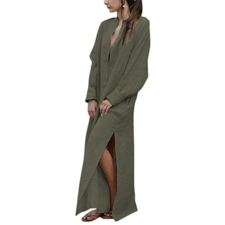 74d99dfc060 Sexy Dance - Women Cotton Linen Long Sleeve Maxi Tunic Shirt Dress Baggy  Casual Kaftan Peasant Ethnic Boho Gypsy Loose Side Split Caftan -  Walmart.com