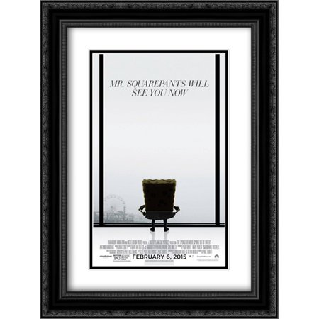 The Spongebob Movie  Sponge Out Of Water 18X24 Double Matted Black Ornate Framed Movie Poster Art Print