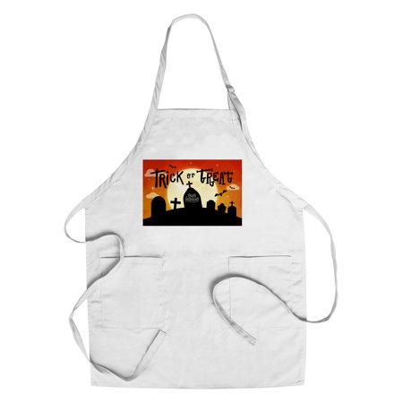 Happy Halloween - Trick or Treat - Graveyard - Lantern Press Artwork (Cotton/Polyester Chef's Apron)