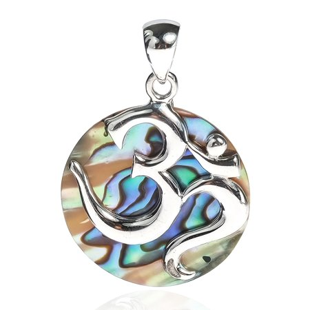 Aum or Ohm Symbol Script Over Abalone Shell .925 Sterling Silver (Abalone China)