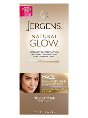 Jergens Natural Glow Oil-Free Daily Moisturizer for Face with Broad Spectrum SPF 20, Medium to Tan, 2 oz
