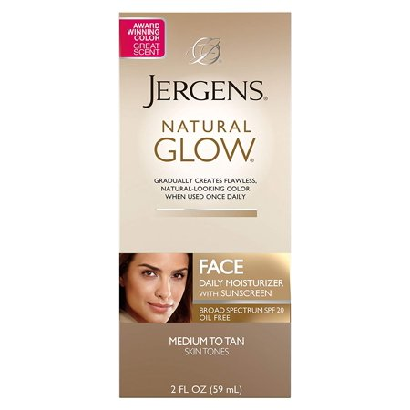 Jergens Natural Glow Oil-Free Daily Moisturizer for Face with Broad Spectrum SPF 20, Medium to Tan Skin Tones, 2