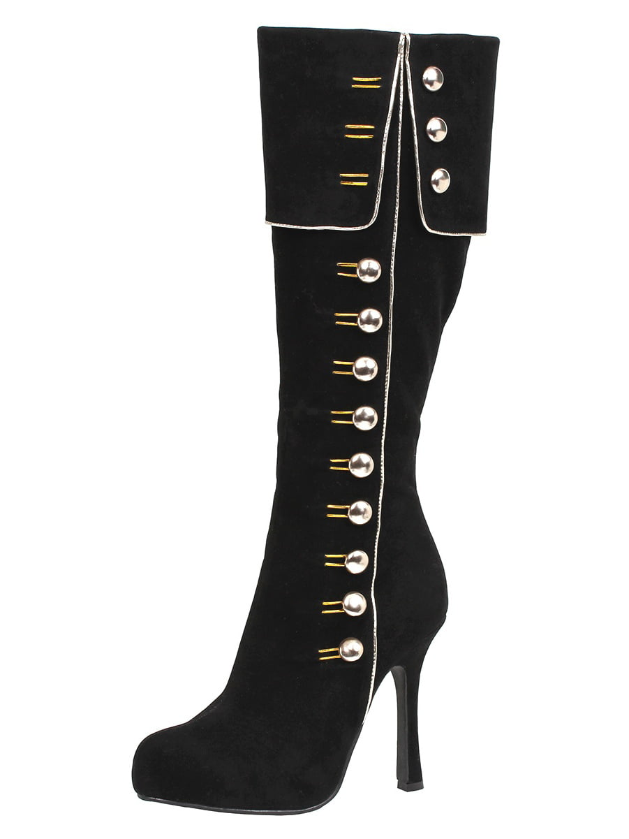 Women's 4 Zipper Inch Heel Knee High Costume Boots Side Zipper 4 Button Detail Black 786606