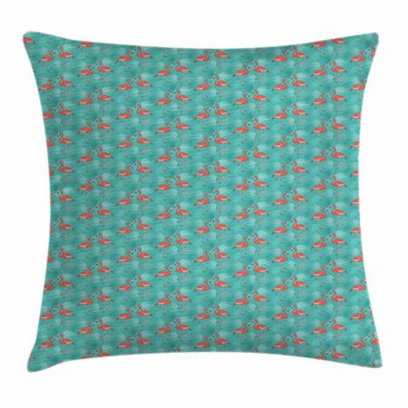 Flamingo Throw Pillow Cushion Cover, Tropical Birds with Hawaiian Foliage Background Summer Holiday Theme, Decorative Square Accent Pillow Case, 16 X 16 Inches, Turquoise and Coral, by Ambesonne (Hawian Theme)