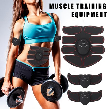 6Pcs Professional Electric Abdominal Arm Muscle Trainer EMS Muscle Training Gear Fat Burning Smart Body Building Fitness Kits Abs  Remote (Abdominal Fat)