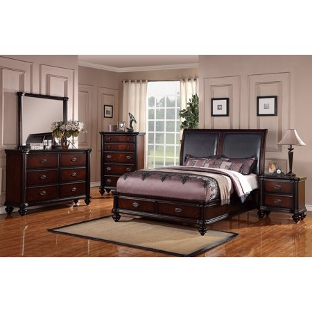 Traditional Italian Design Bedframe Bedroom Furniture 4pc Set Queen Bed w  Storage Dresser Mirror Nightstand