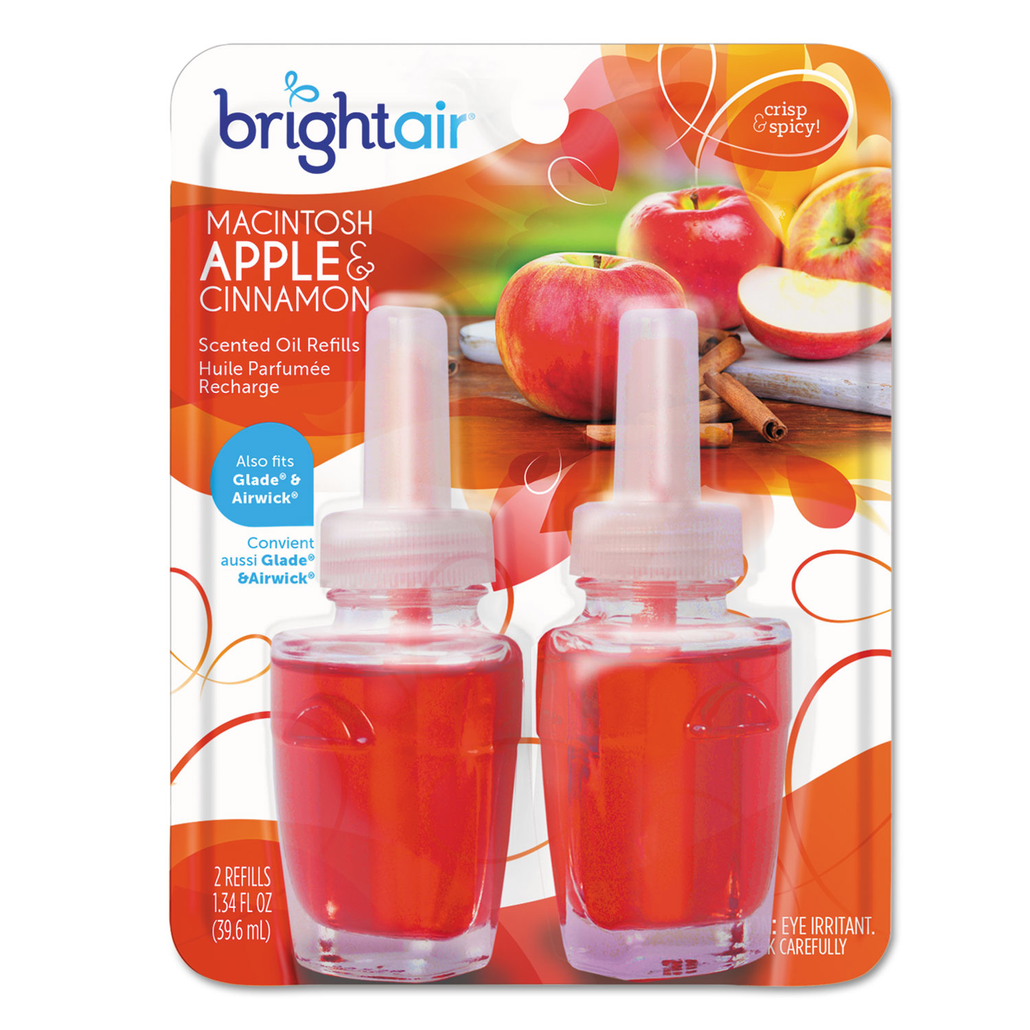 Electric Scented Oil Air Freshener Refill, Macintosh Apple and Cinnamon, 2/Pack