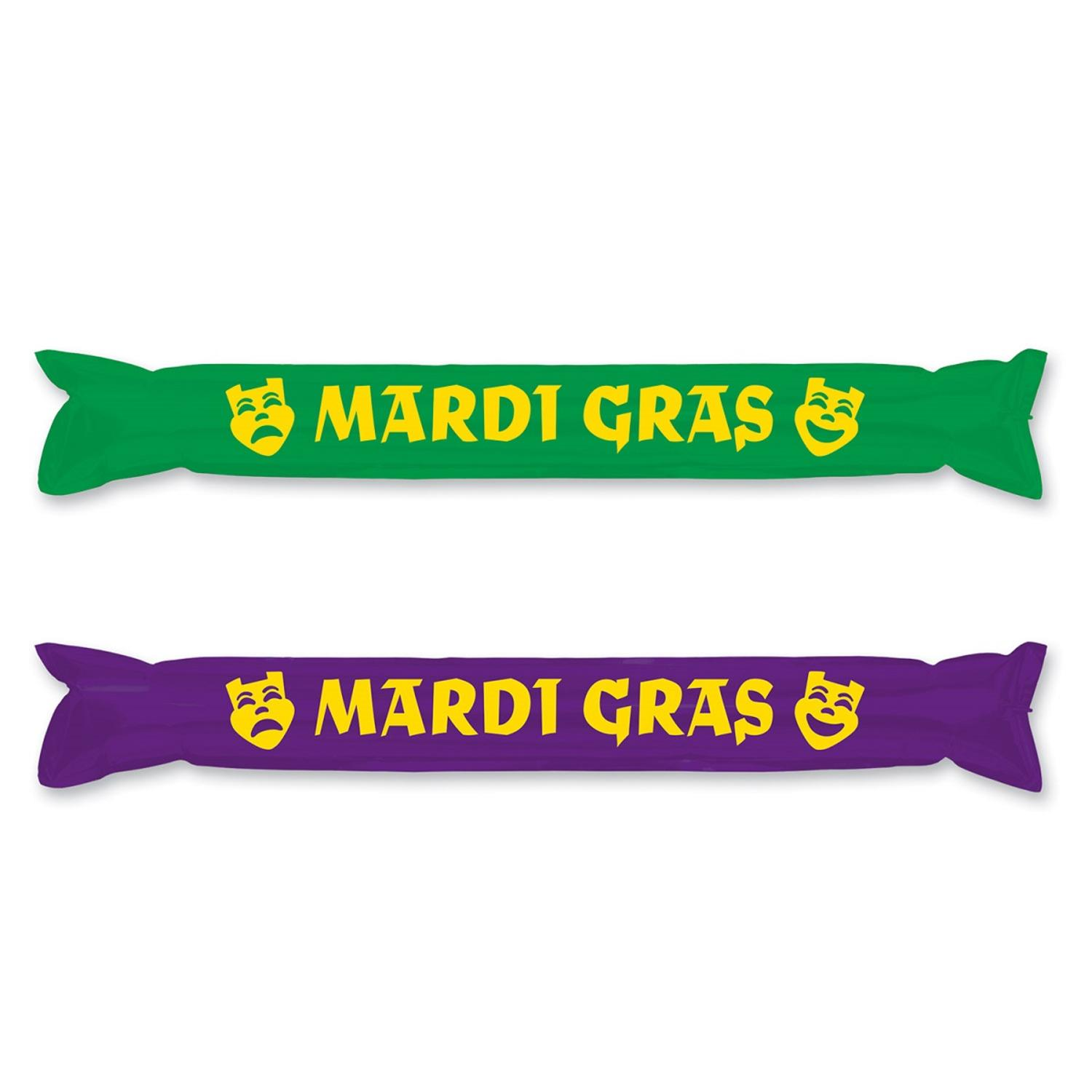 """Club Pack of 24 Green and Purple """"Mardi Gras"""" Inflatable Make Some Noise Party Sticks 22"""""""