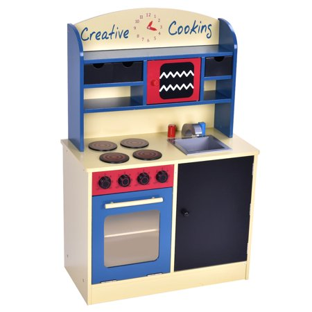 costway wood kitchen toy kids cooking pretend play set