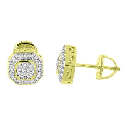 Octagon Designer Earrings Iced Out Lab Created Cubic Zirconias 14K Gold Finish Screw Back 8mm Studs