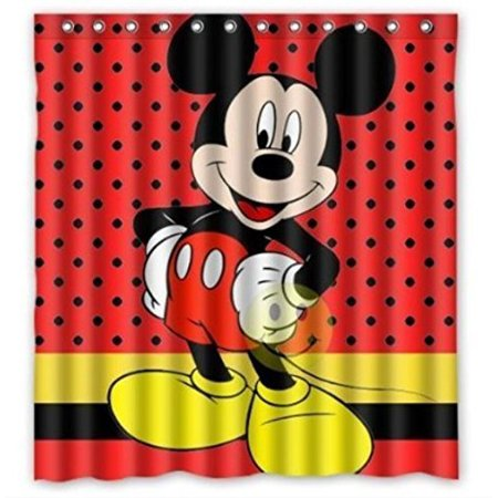 Deyou Mickey Mouse Pattern Shower Curtain Polyester Fabric Bathroom Shower Curtain Size 66x72
