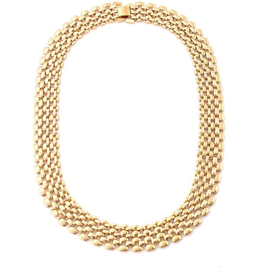 Tazza Shiny Light Gold-Tone Glam Linked Collar Necklace