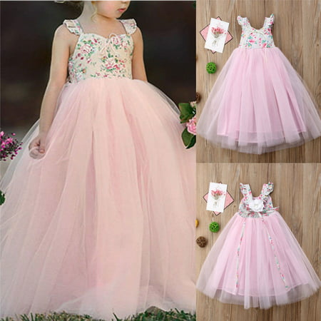 Pink Tea Party Dress (Baby Kids Girls Princess Dress Pageant Wedding Birthday Party Lace Long)