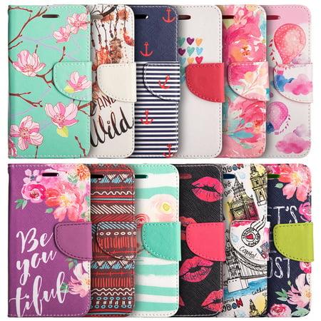 Iphone Wallet Case - Apple Iphone 7 Plus Trndy Leather Flip Wallet Case - Watercolor Floral