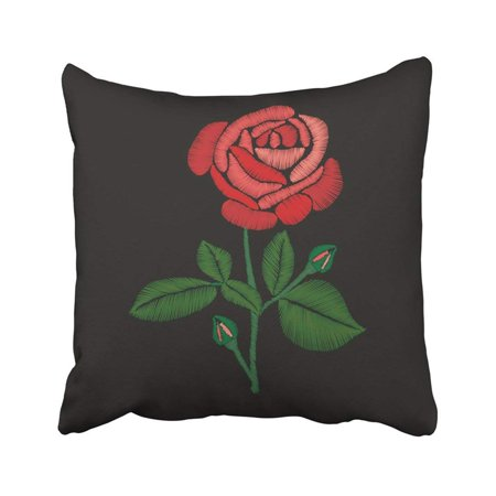 BPBOP Green Patch Red Rose Embroidery On Black Drawing Floral Flowers Leaves Pillowcase Throw Pillow Cover 18x18 inches (Red And Black Rocker Patch)