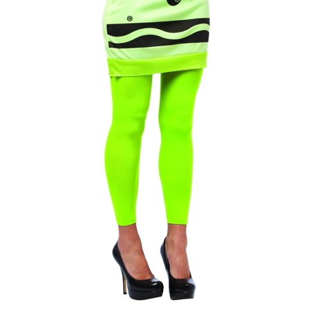 Crayola Screamin' Green Footless Tights Costume Accessory Adult One Size - Bright Green Tights