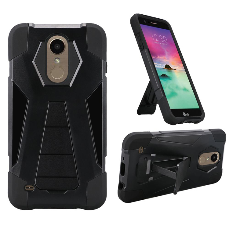 Phone Case for LG Rebel 3 (TracFone) L157BL, L158VL / LG Aristo-2 X210 / LG Tribute Dynasty Rugged Cover With Wide Stand (Wide Stand Black-Black Corner)