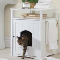 Zooville Cat Washroom Litter Box Cover / Night Stand Pet House, White