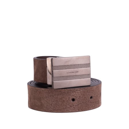 Givenchy Mens Brown Suede Distressed Plated Buckle Belt