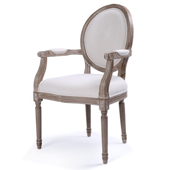 Belleze Formal Dining Chair Linen Fabric Padded Armrest