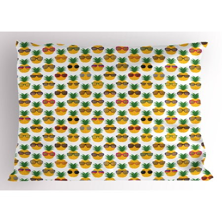 Tropical Pillow Sham Pineapples Wearing Sunglasses Funny Arrangement with Exotic Fruits Illustration, Decorative Standard Size Printed Pillowcase, 26 X 20 Inches, Multicolor, by - Cheap Funky Sunglasses
