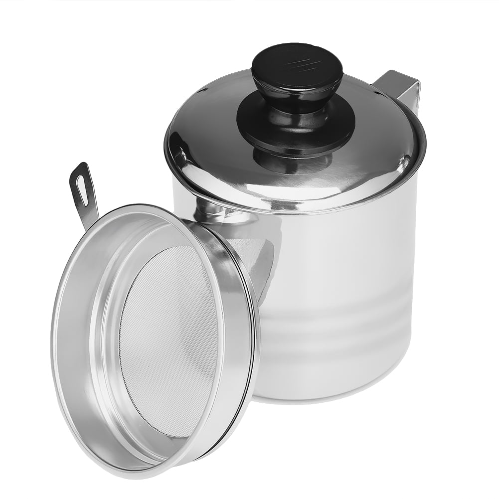 Uarter Oil Strainer Pot Grease Container Stainless Steel Oil Can with Lid and Fine Mesh Strainer, 1200ml by