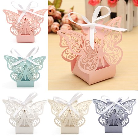 Butterfly Garden Gift Box (10Pcs Paper Butterfly Cut Candy Cake Boxes Wedding Party Gifts Favor Case Cake Style for Wedding Baby Shower Decorating Supplies,Pink)