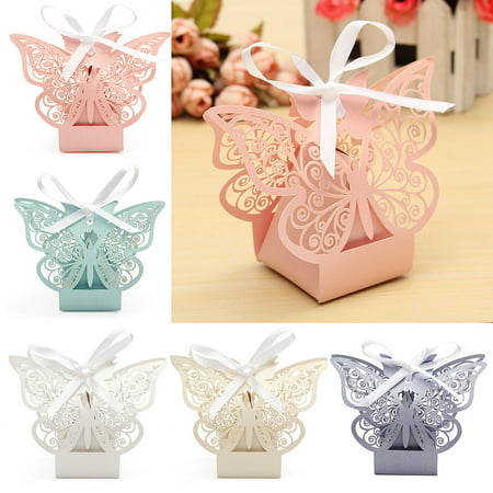 10Pcs Paper Butterfly Cut Candy Cake Boxes Wedding Party Gifts Favor Case Cake Style for Wedding Baby Shower Decorating Supplies - Cake Favor Boxes
