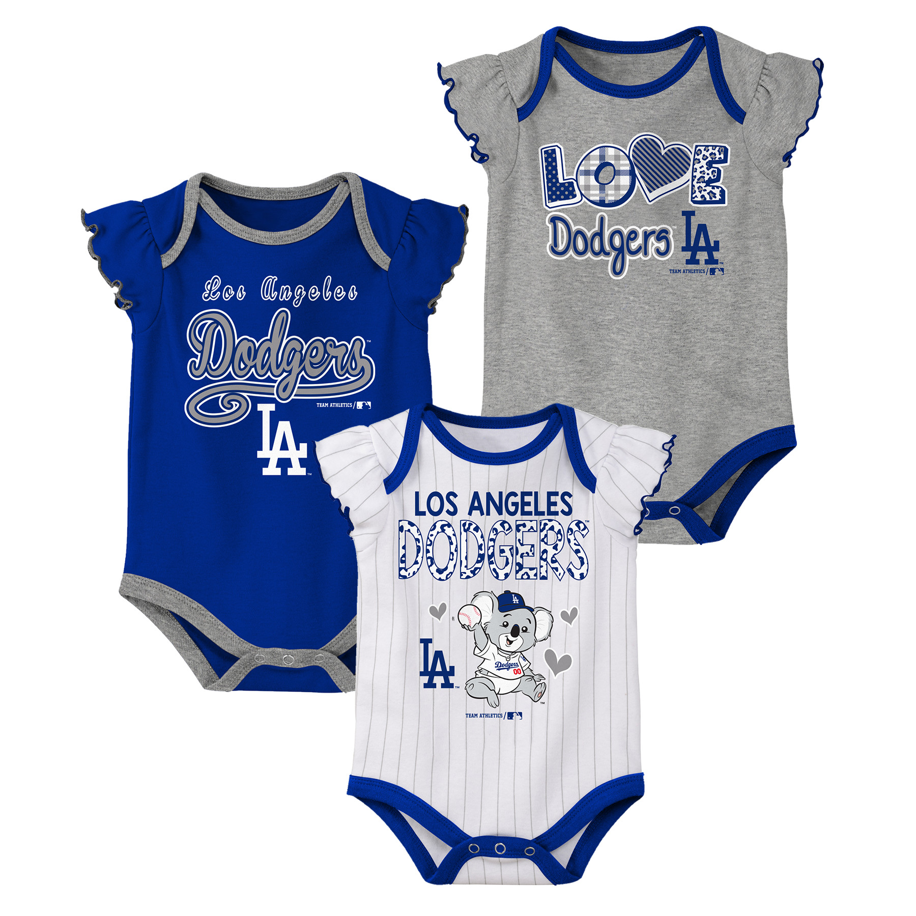 MLB Los Angeles Dodgers Onesie Creeper GIRL 3PK 100% Cotton ASSORTED Colors 0M-18M