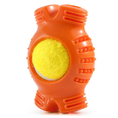 Bone Pet Toy - Pet Toys for Dogs by Fluffy Paws Pet Tennis Ball Squeaky Dog Toy with Textured Fat Bone Squeaky Rubber Clean Teeth Massage Gums Pet Toy IQ Training Playing and Chewing - Orange