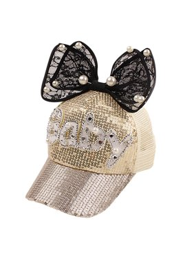 Children Girl Pearl Sequin Sun Hat Baseball Cap