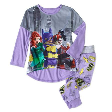 Lego Batman Girls' Jersey Top and Fleece Pant Pajama 2pc Set - Batman Girl Villians