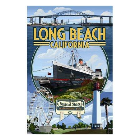 Long Beach, California - Montage Print Wall Art By Lantern Press ()