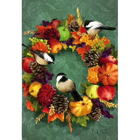 Fall floral wreath autumn garden flag chickadees apples - Discount tire garden of the gods ...