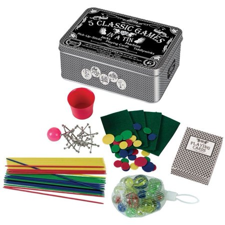 Classic Kids Game Tin - 5 Family Games -Playing Cards, Marbles, Jacks, Poker, Tiddly Winks, Pick Up Sticks -Great Gift Travel (Playing Stick)