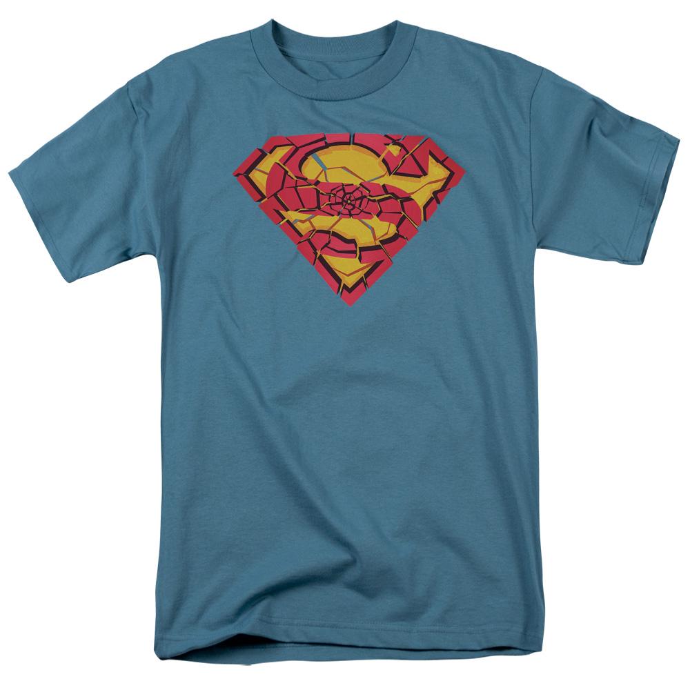 Superman Shattered Shield Mens Short Sleeve Shirt