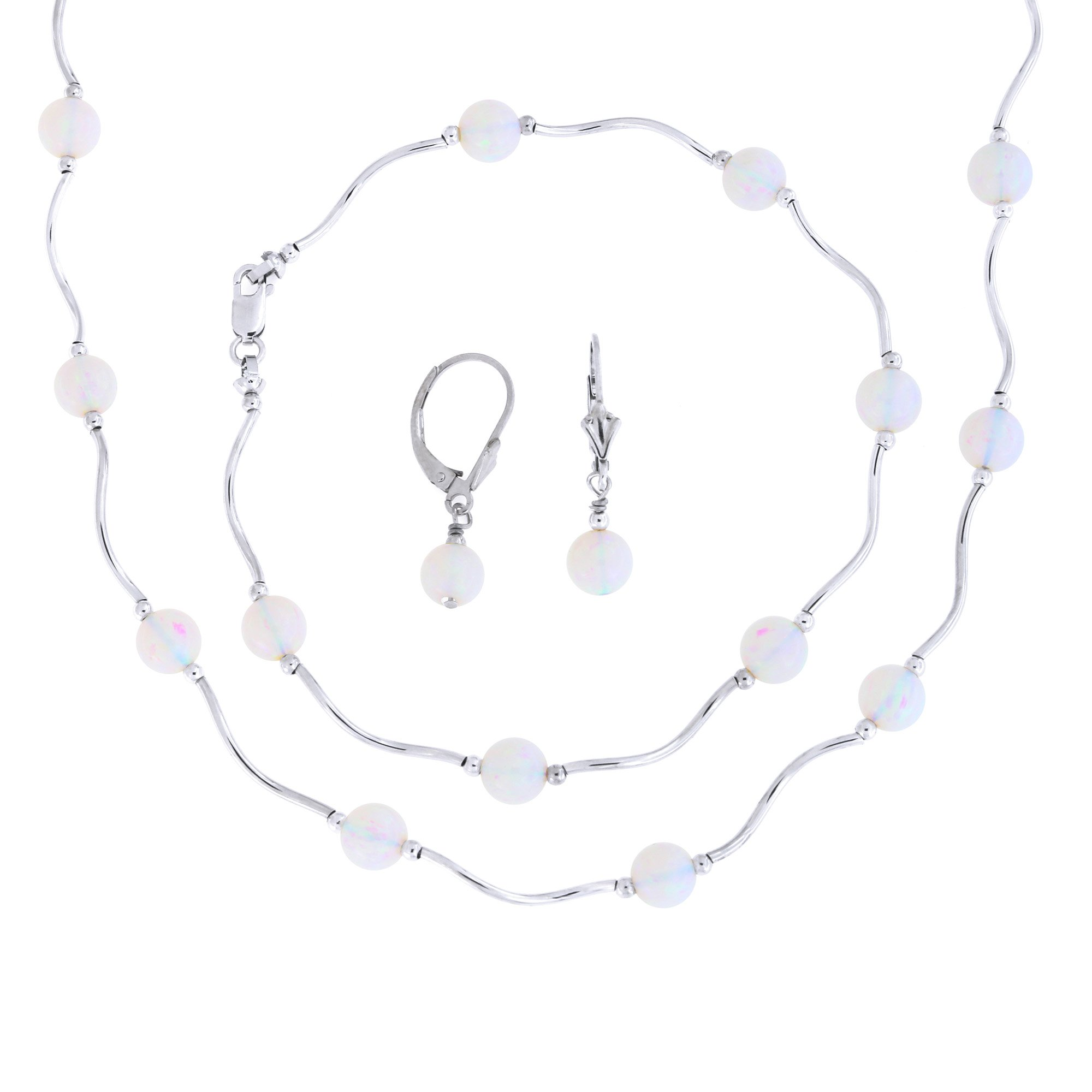 Sterling Silver Rhodium Plated 6mm Simulated White Opal Station Necklace, Earrings and Bracelet Set by