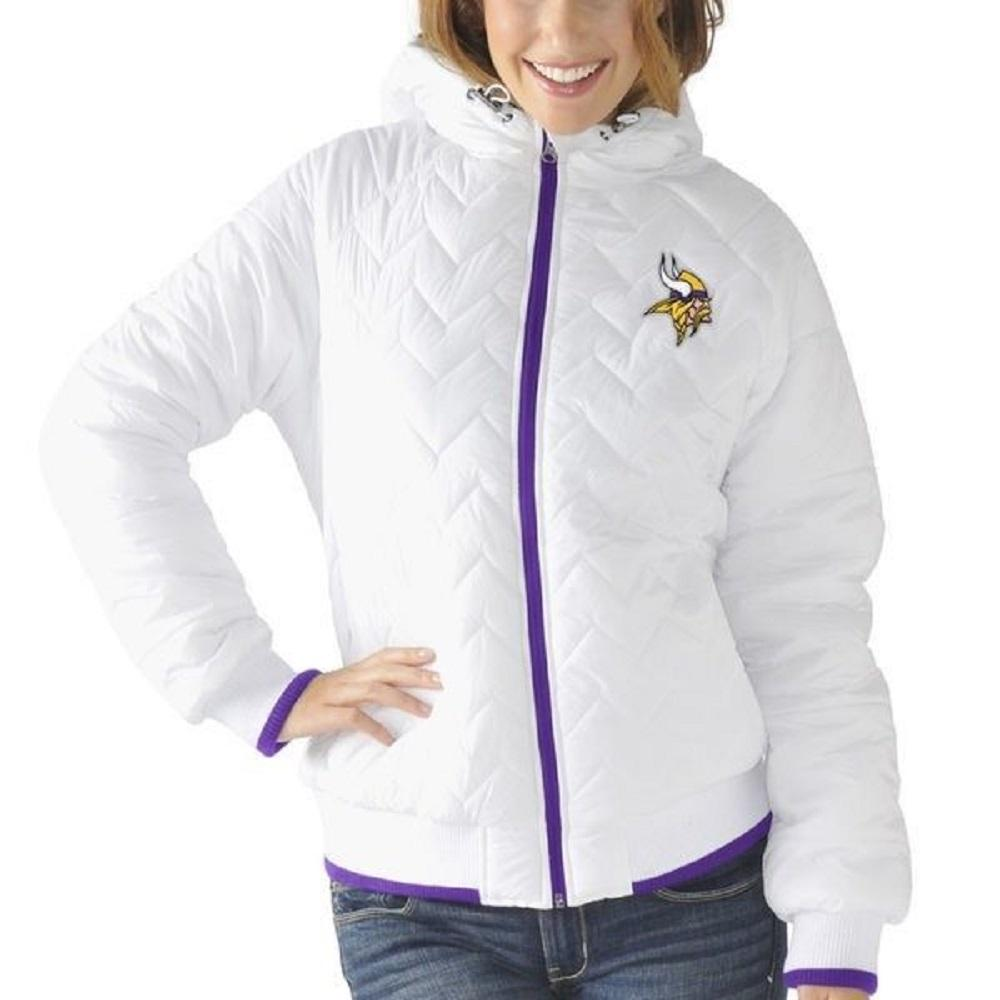 Minnesota Vikings Women's Drop Back Quilted Full Zip Jacket (No Hoodie) by G-III 4Her by Carl Banks