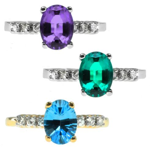 Michael Valitutti Emerald, Amethyst, Aquamarine and Diamond Ring by Overstock