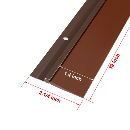 """2-1/4"""" x 39"""" Aluminum Alloy Silicone Rubber Door Sweep Bottom Seal Strip Brown - image 3 of 4"""