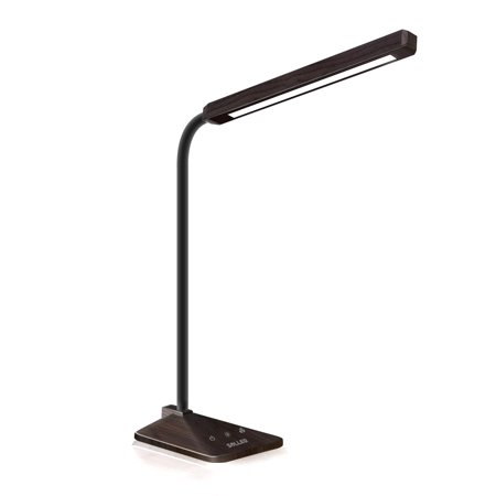 SOLLED 8W Wood Grain Desk Lamp 48 PCs LG LEDs 5 Colors (2700K-6000K) and 5 Levels Brightness Dimmable Table Light with Touch Sensitive Control Panel, Goose-neck for Reading/Home/Working/Studyig (Wood Grain Plastic Panel)