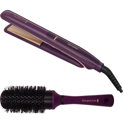"Bonus Brush Bundle! Remington Thermaluxe Ceramic Hair Straightener Flat Iron, 1"" Wide, S9110"