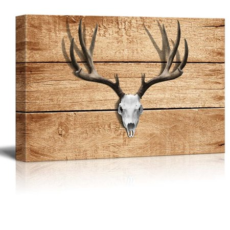 wall26 - Rustic Canvas Wall Art - Deer Antler - Giclee Print Modern Wall Decor | Stretched Gallery Wrap Ready to Hang Home Decoration - 16x24 inches ()